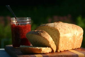 Homemade bread and strawberry jam