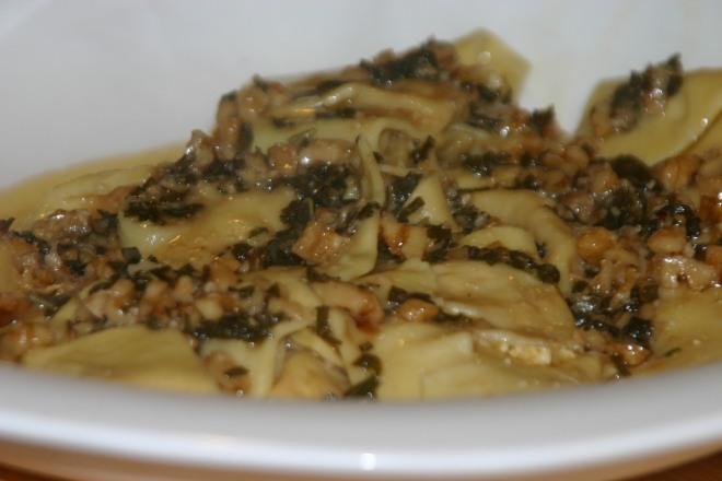 Vegan pumpkin ravioli with brown butter sage sauce
