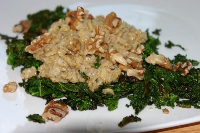 Savory Oatmeal with Kale and Walnuts