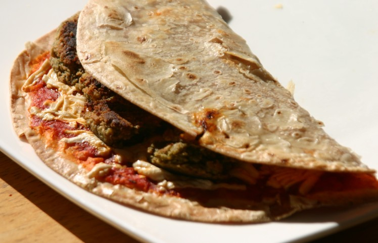 Vegan Pesto Patty Pizza Quesadilla