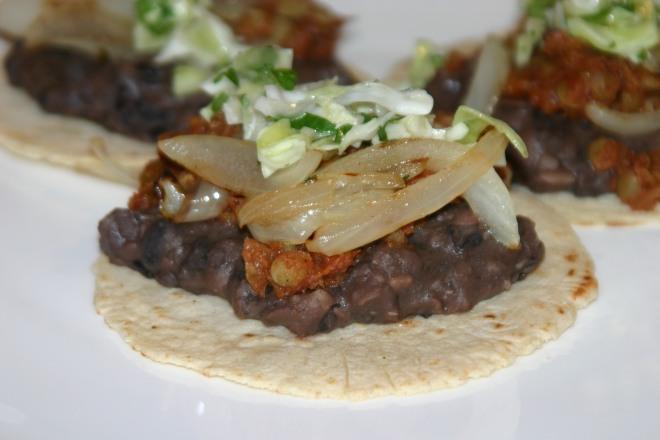 Vegan Lentil Tacos with Homemade Refried Beans
