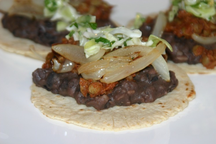 Vegan Lentil Tacos with Homemade Refried Beans