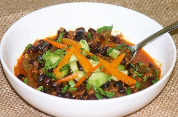 Black bean stew with Soyrizo