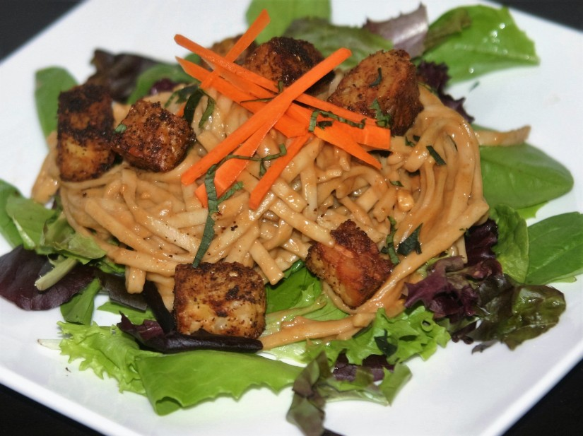 Vegan Peanut Noodles with TempehCroutons