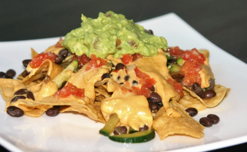 Vegan Nachos with Cashew Cheese and Guacamole