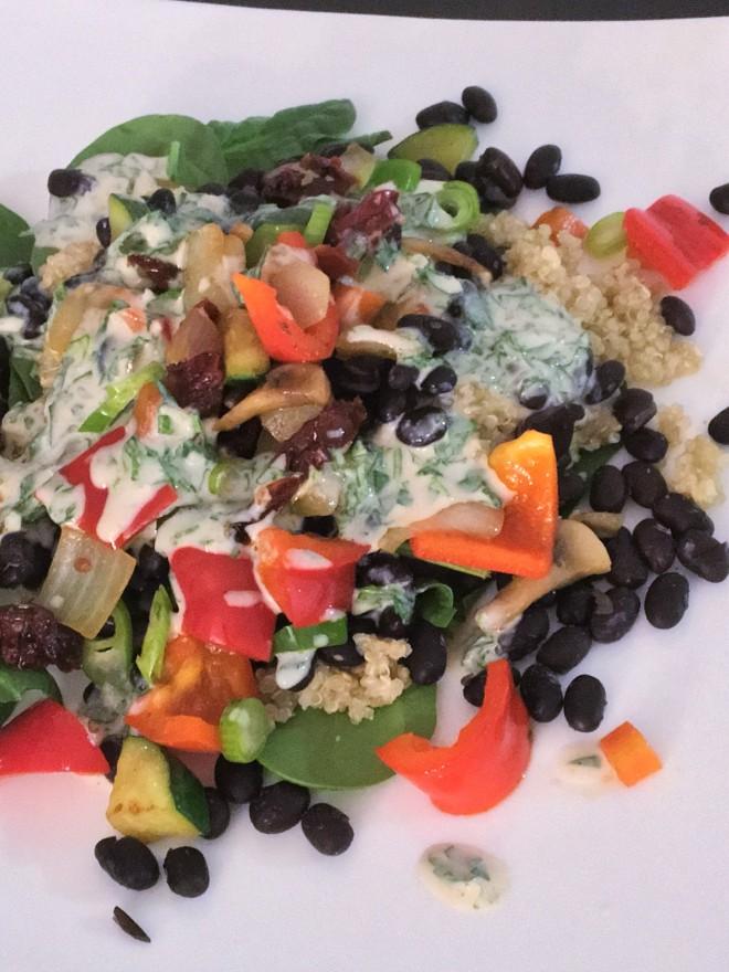 Quinoa Black Bean Bowl with Tahini Dressing