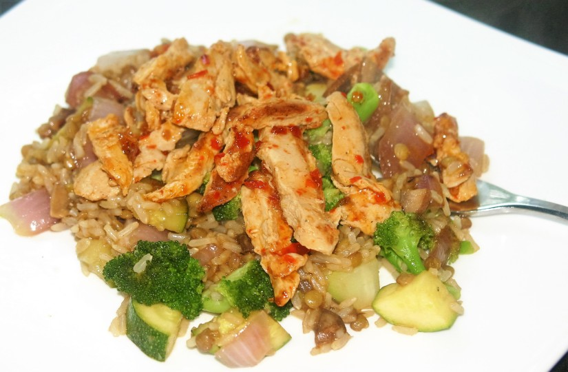 """Fried Rice with Sweet Chili """"Chicken"""""""