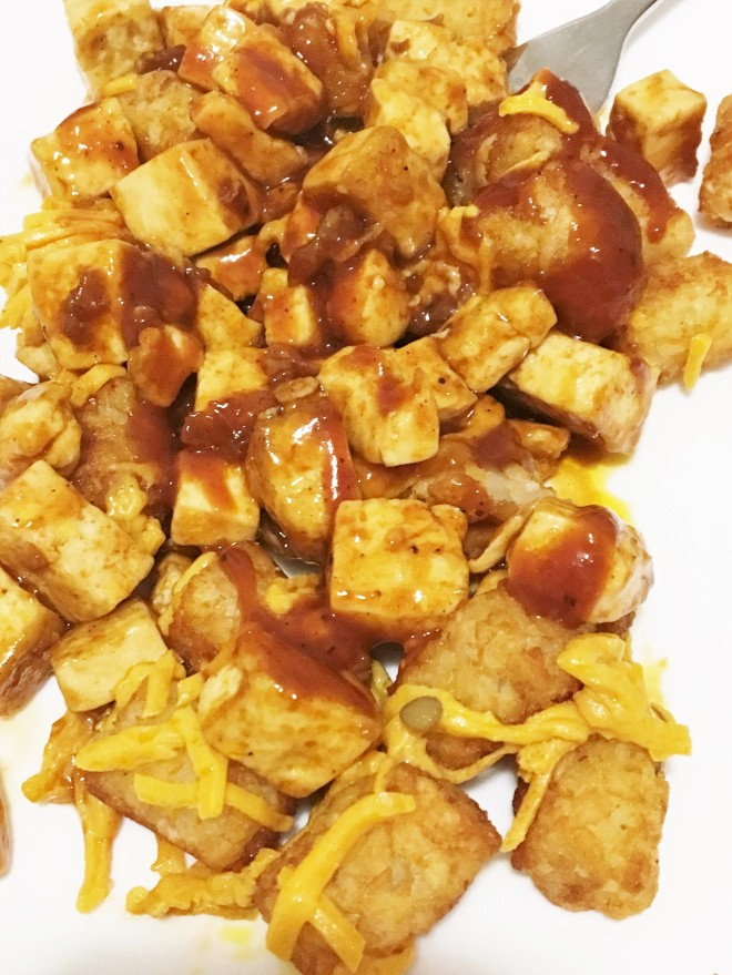 tater tots with BBQ tofu