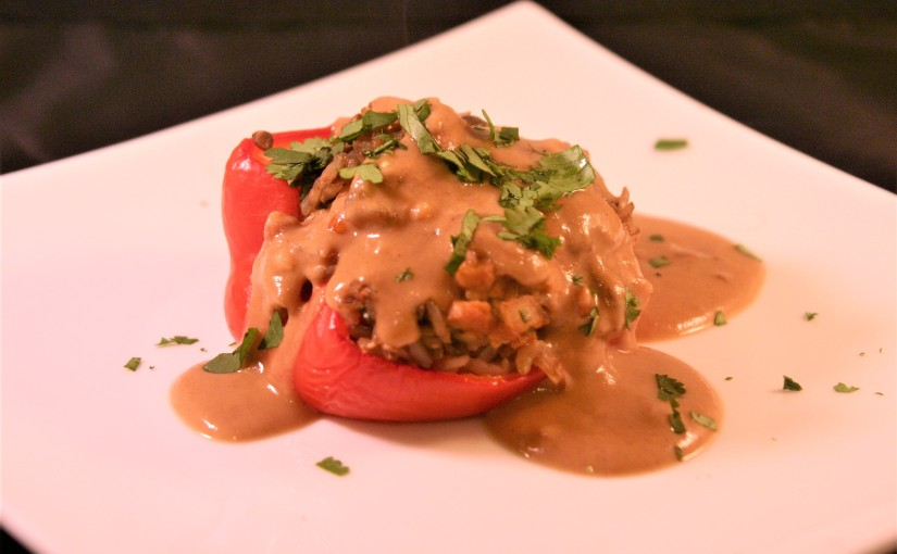 Vegan Thai Stuffed Peppers With Peanut Sauce