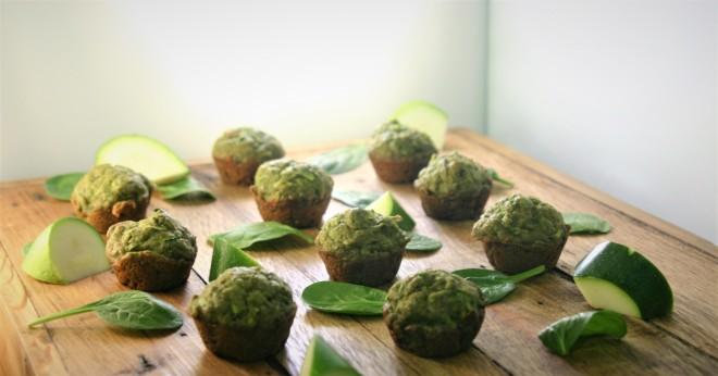 Spinach Zucchini Muffins -date sweetened