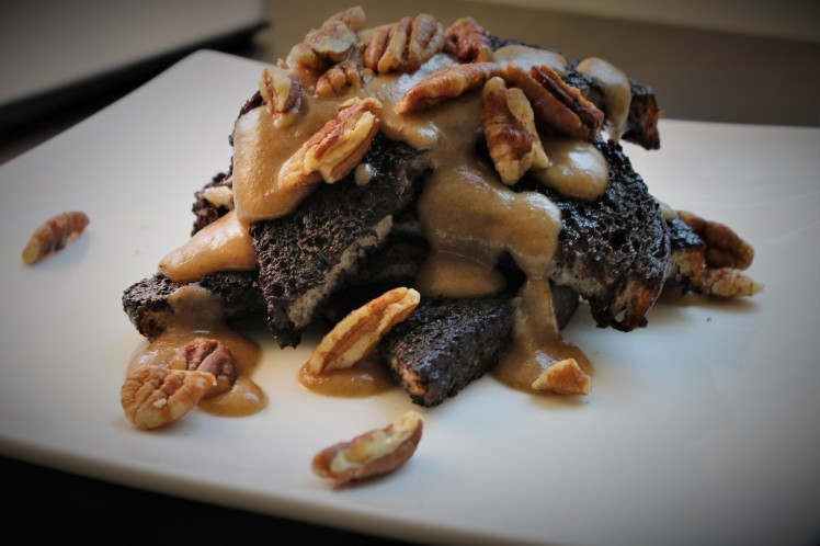 Aquafaba chocolate french toast with bourbon date caramel