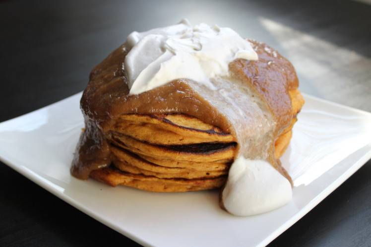sweet potato pancake with date caramel and coconut whipped cream