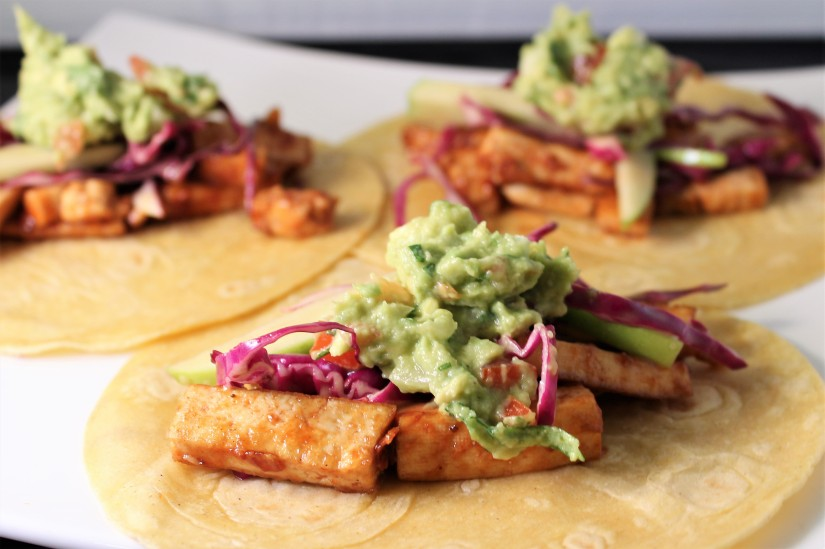BBQ Tofu Tacos With Honey Mustard Slaw