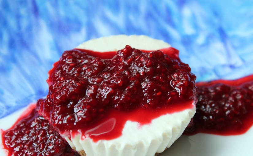 Vegan Macadamia Nut Cheesecake with Raspberry Sauce